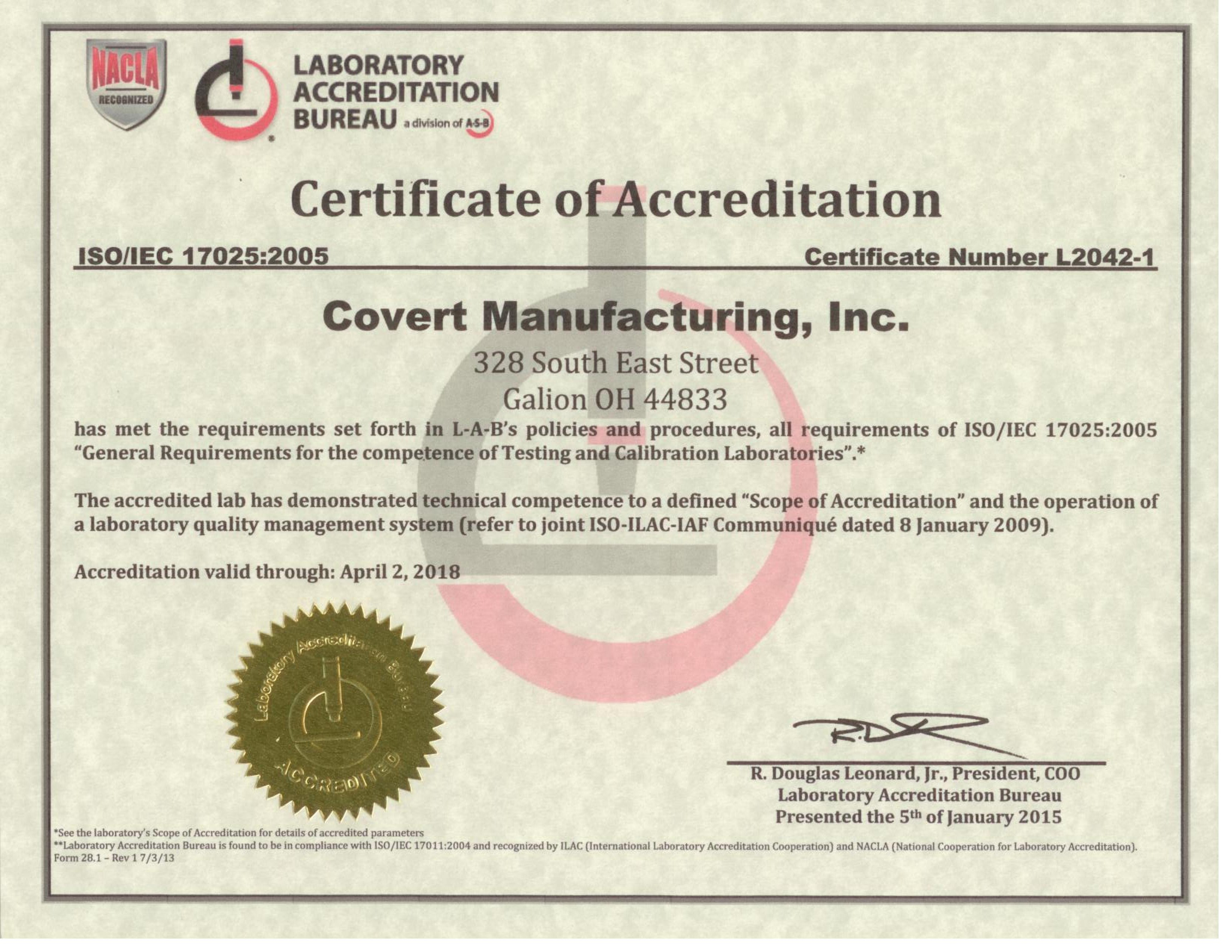 covert manufacturing quality cnc machining and tooling certifications 15 l2042 1 cert page 001